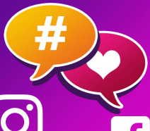 Hashtag and Like Symbols near Instagram and Facebook icons