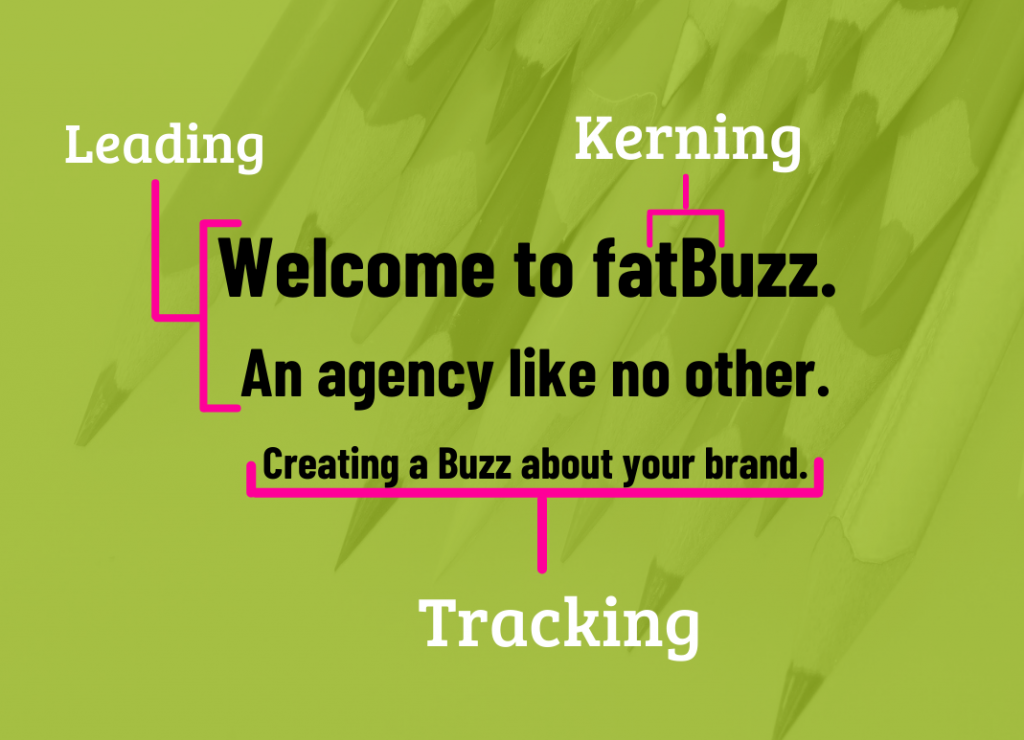 Leading, Kerning and Tracking shown using the fatBuzz slogans.